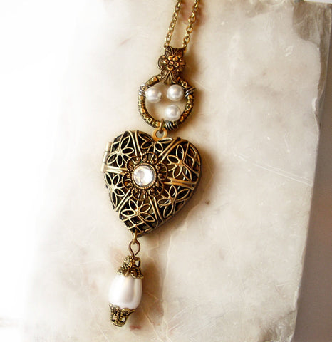 Brass Heart Locket Necklace with White Pearls