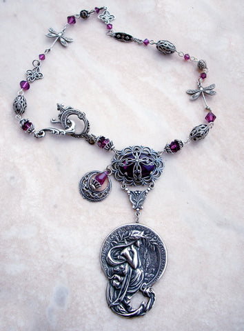 Purple Crystal Fantasy Necklace - Aranwen's Jewelry  - 3