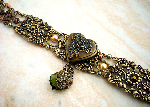 Vintage Brass Locket Choker with Green Crystals - Aranwen's Jewelry  - 3