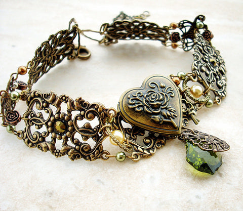 Vintage Brass Locket Choker with Green Crystals - Aranwen's Jewelry  - 1