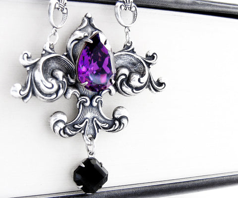 Fleur De Lys Necklace with Black and Purple Swarovski Crystals