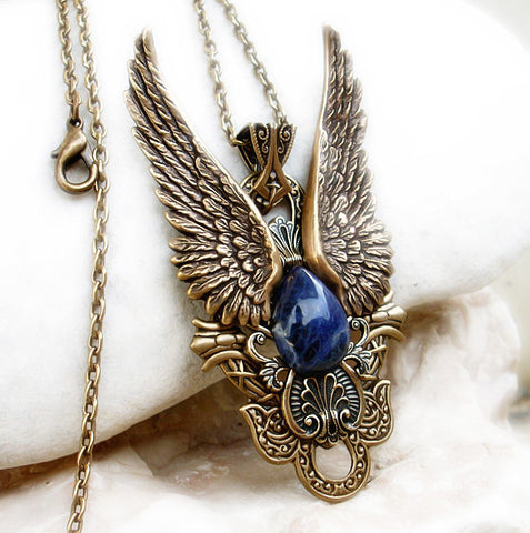 Brass Angel Wings Pendant with Blue Sodalite - Aranwen's Jewelry  - 3