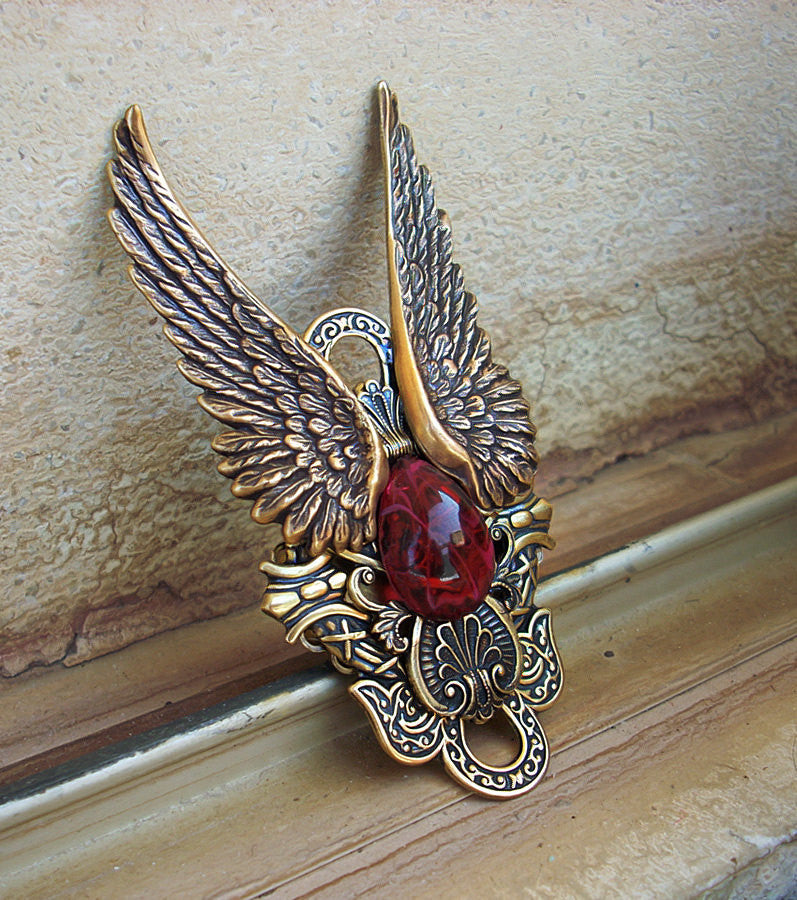 Brass Wings Ring with Red Glass - Aranwen's Jewelry  - 1