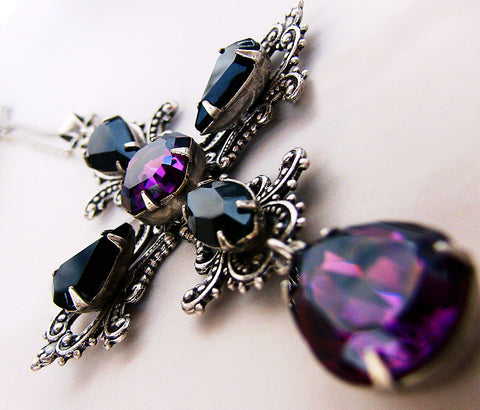 Gothic Cross Pendant with Purple and Black Swarovski Crystals - Aranwen's Jewelry  - 2