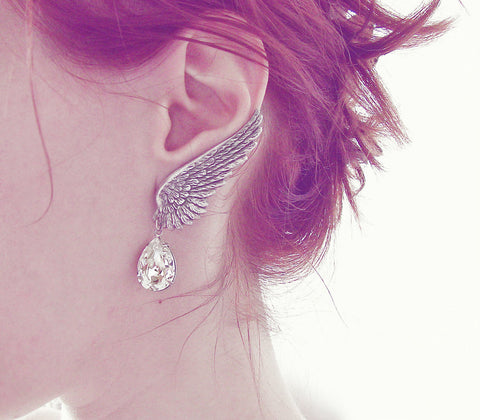Silver Wings Earrings with Swarovski Drops