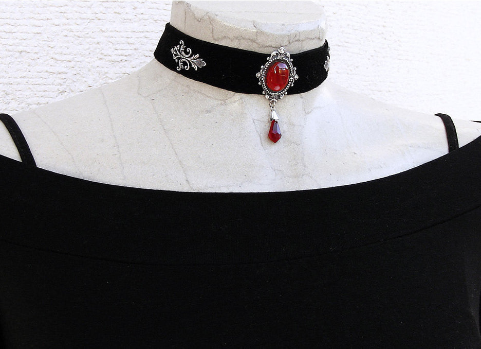 Black Velvet Choker with Red Crystal - Aranwen's Jewelry  - 1