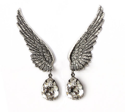 Set of 4 Silver Wing Earrings with Swarovski Drops