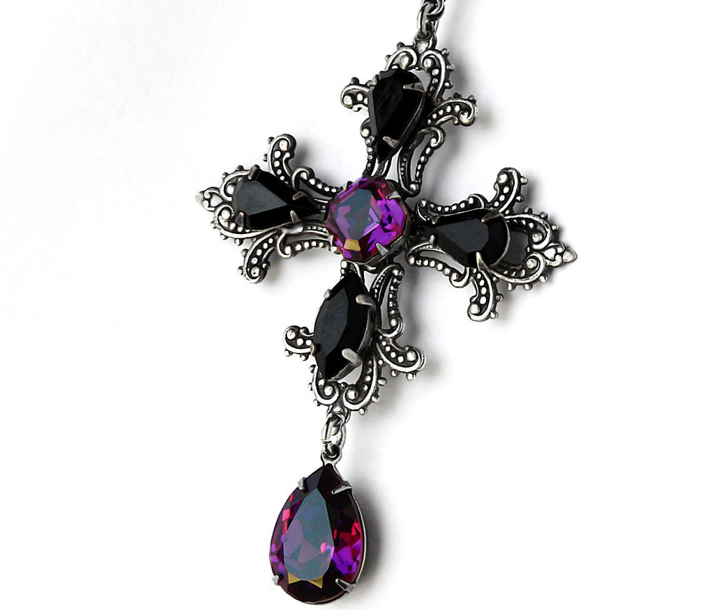 Gothic Cross Pendant with Purple and Black Swarovski Crystals - Aranwen's Jewelry  - 1