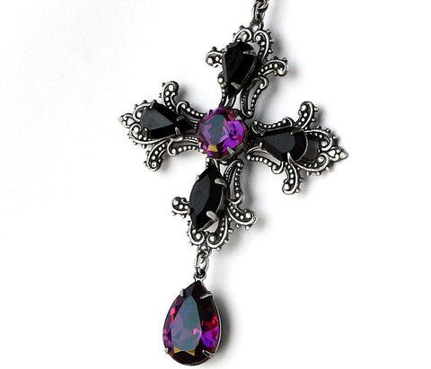 Gothic Cross Pendant with Purple and Black Swarovski Crystals