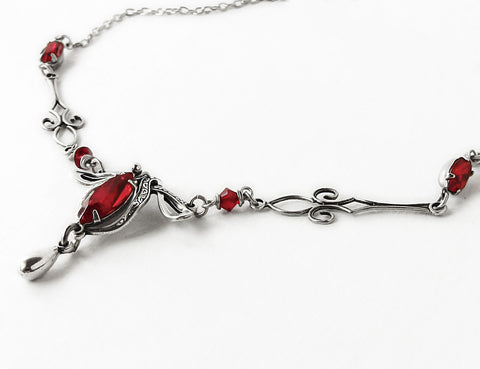 Red Swarovski Victorian Silver Necklace - Aranwen's Jewelry  - 1