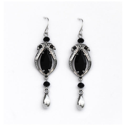 Black Swarovski Crystal Victorian Necklace and Earrings Set - Aranwen's Jewelry  - 3