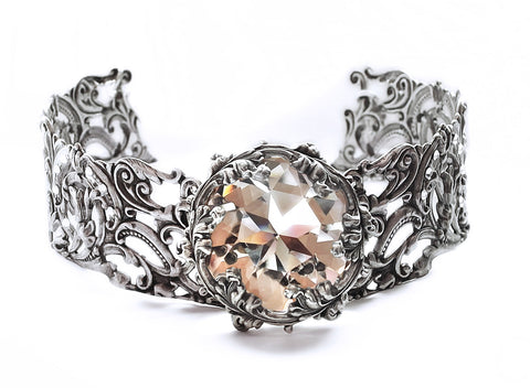Silver Filigree Choker with Clear Swarovski Crystal - Aranwen's Jewelry  - 2