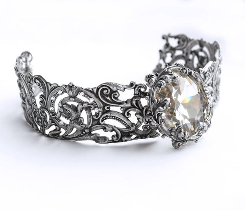 Silver Filigree Choker with Clear Swarovski Crystal