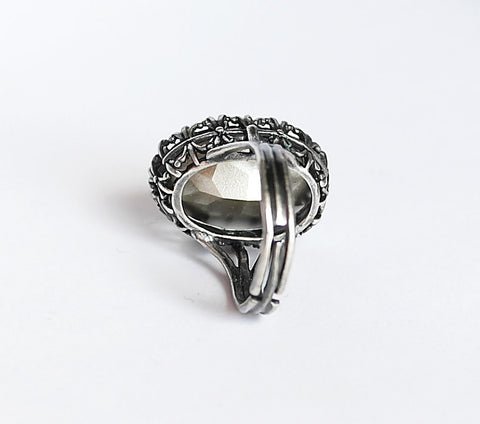 Gothic Engagement Ring with Gray Swarovski Crystal - Aranwen's Jewelry  - 3