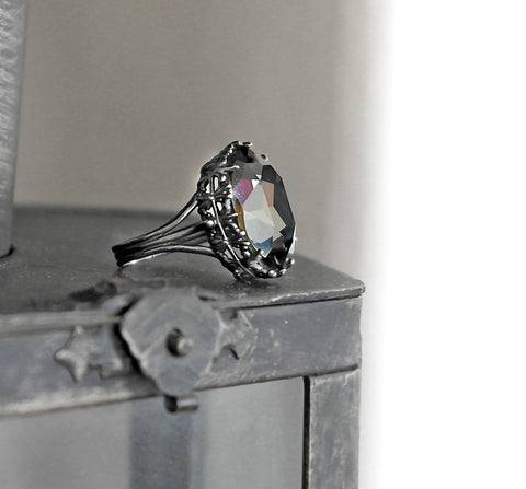 Gothic Engagement Ring with Gray Swarovski Crystal - Aranwen's Jewelry  - 4
