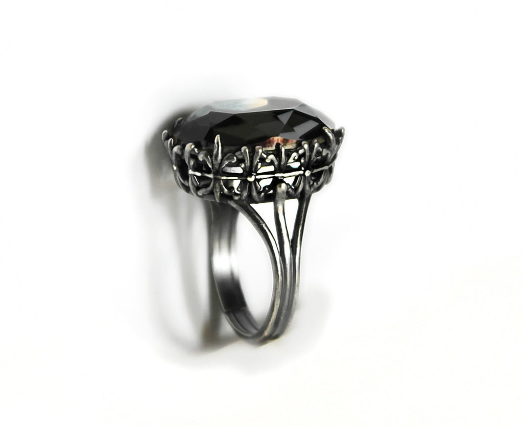 Gothic Engagement Ring With Gray Swarovski Crystal  Aranwen's Jewelry  2