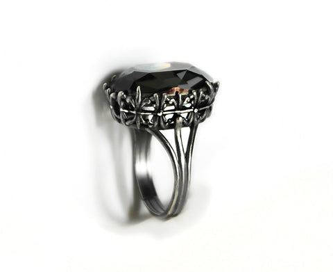 Gothic Engagement Ring with Gray Swarovski Crystal - Aranwen's Jewelry  - 2