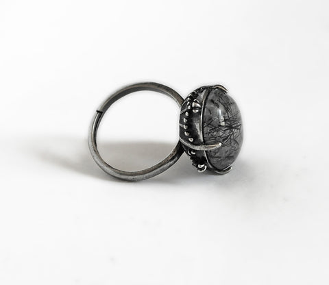 Black Rutile Ring - Aranwen's Jewelry  - 1