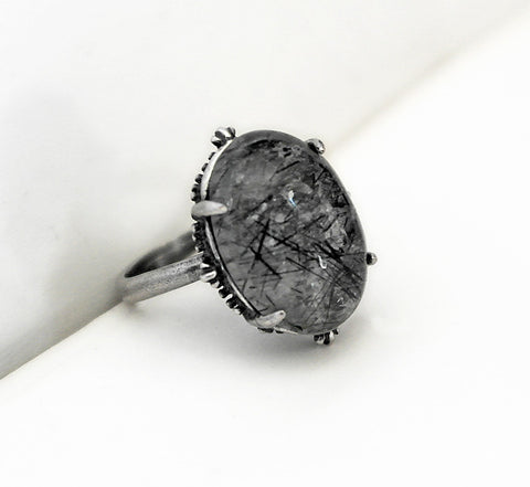 Black Rutile Ring - Aranwen's Jewelry  - 2