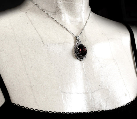 Burgundy Crystal Jewelry Set Earrings Necklace Ring - Aranwen's Jewelry  - 4