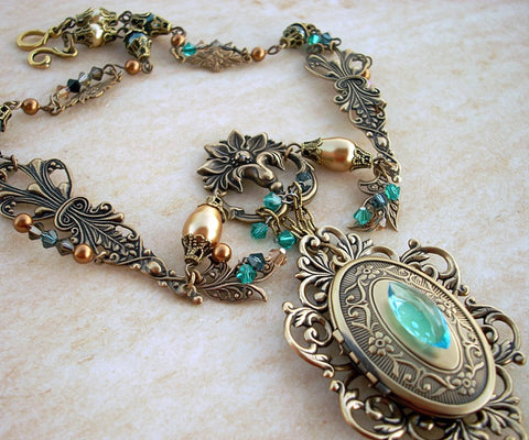 Brass Locket Necklace with Green and Gold Crystals - Aranwen's Jewelry  - 2