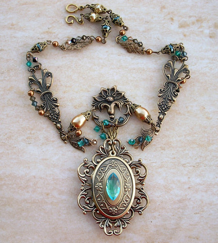Brass Locket Necklace with Green and Gold Crystals - Aranwen's Jewelry  - 3