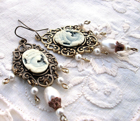 Brass Dangle Earrings with Cameo and White Pearls - Aranwen's Jewelry  - 2