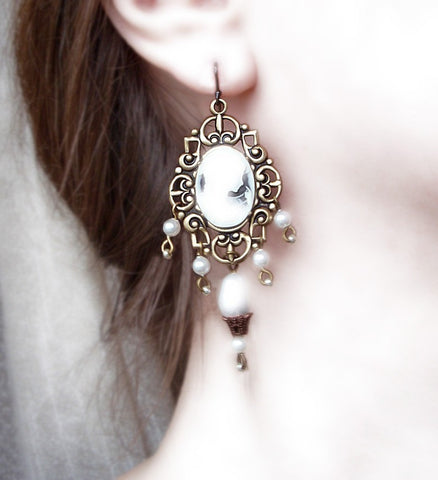 Brass Dangle Earrings with Cameo and White Pearls - Aranwen's Jewelry  - 3