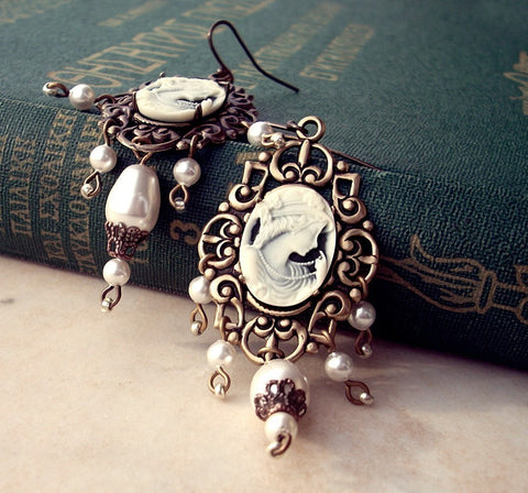 Brass Dangle Earrings with Cameo and White Pearls - Aranwen's Jewelry  - 4