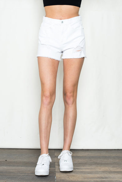 Mid Rise Short with Frayed Hem - White