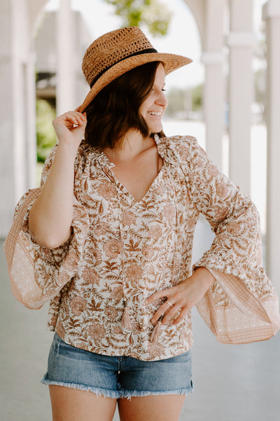 Lotus Blush Bell Sleeve Top