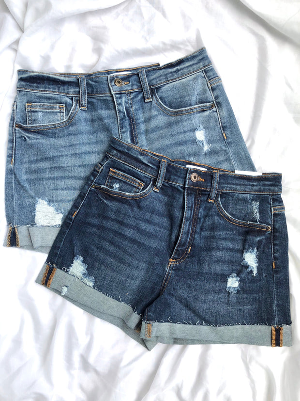High Rise Distressed Jean Short