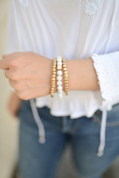 Fancy Nancy Bracelet Stack - White/Grey