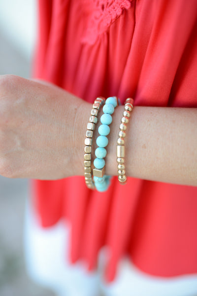 Fancy Nancy Bracelet Stack - Turquoise