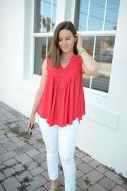 Hibiscus Happy Hour Red Embroidered Top