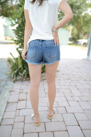 Dark Wash Mid-Rise Cutoffs