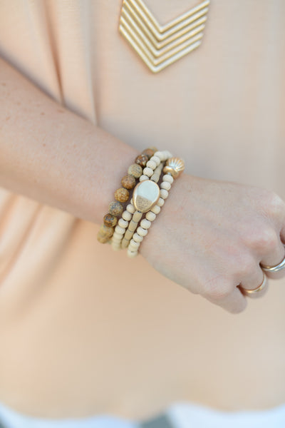 Golden Nugget Natural Boho Bracelet Stack