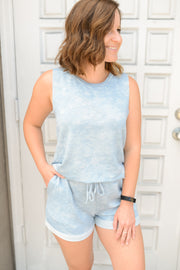Blue Tie Dye Sleeveless Tank