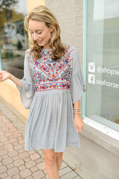 Cornucopia Bell Sleeve Dress - Grey