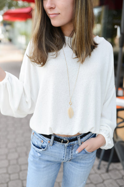 Cuddly Classic Ballon Sleeve Crop Sweater