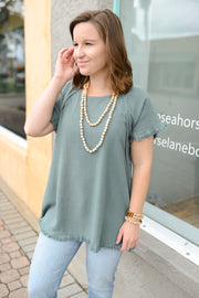 Evergreen Raw Hem Top