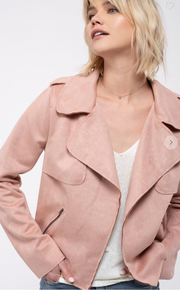 Dusty Pink Mums Moto Jacket