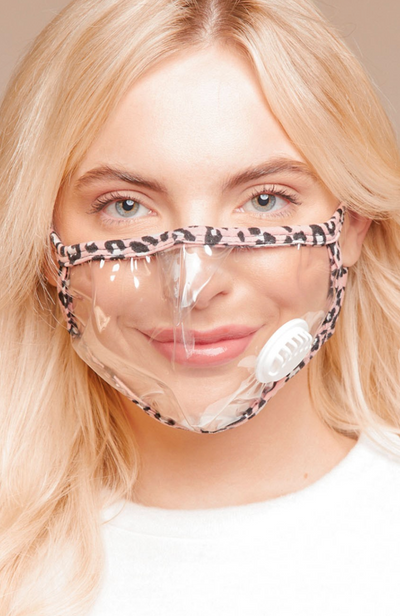 Pink Cheetah Clear Face Mask - Adult