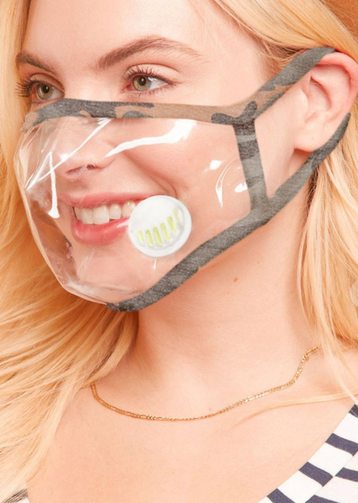Camo Clear Face Mask - Adult