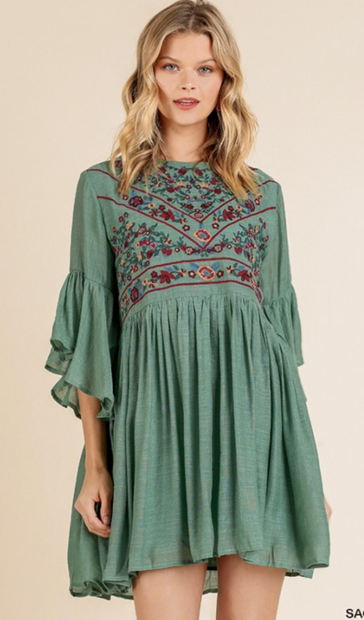 Cornucopia Bell Sleeve Dress - Sage