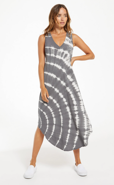 Reverie Spiral Tie-Dye Dress - Charcoal
