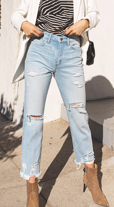 Icy Blue - Light Wash Boyfriend Jeans