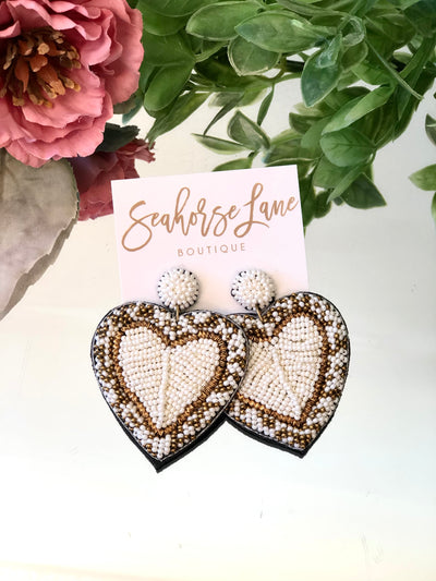 Pearly White Heart Earrings