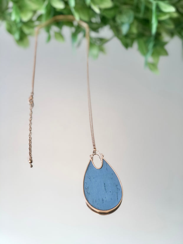 Textured Teardrop Long Necklace