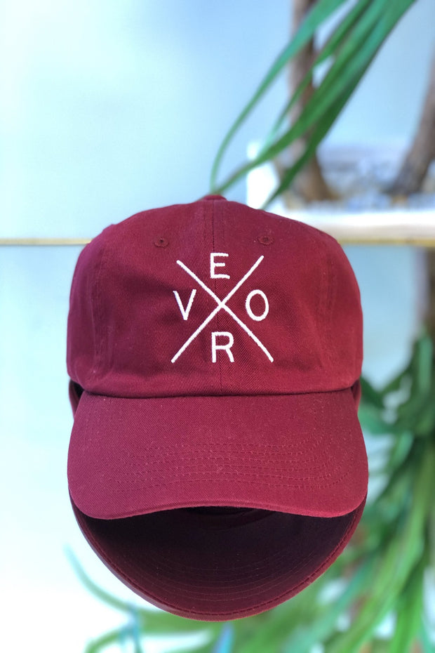 Vero Hat - Burgundy & White